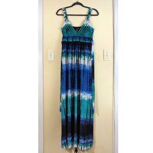 Hypnotik Tie Dyed Print Maxi Dress Shibori Teal M